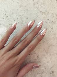 rose gold chrome achieved by using a melon pink base and silver