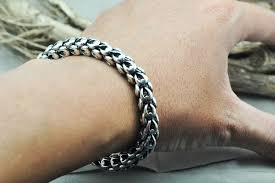 silver bracelet hand images Hot sale 4mm and 8mm thick 100 real pure 925 sterling silver jpg