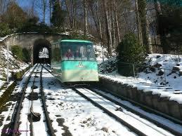 Merkur Baden Baden Merkurbergbahn Talfahrt Von Wagen 2 Der Standseilbahn An Der