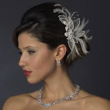 wedding hair bands silver white feather rhinestone bridal hair