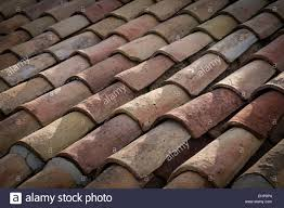 Close Up Of Curved Terracotta Roof Tiles Andalucia Spain Stock