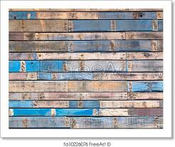 free print of grungy blue painted wood planks of exterior