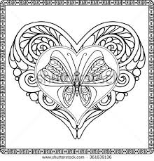 love heart butterfly coloring book stock vector 361639136