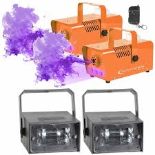 Orange Led Lights Halloween Halloween Fog Machines With Strobe Lights Duo Package Idjnow