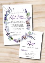 Wedding Invitation Acceptance Card Rustic Feather Eucalyptus And Lavender Wedding Invitation And