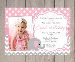 first birthday invitation elephant birthday pink and