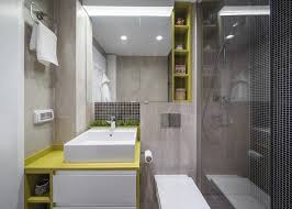 black and yellow bathroom ideas bright yellow bathroom accents with neutral tile modern home
