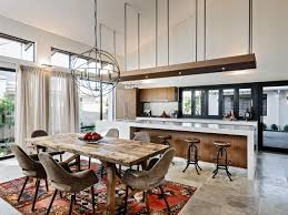 modern open concept kitchen modern black metal dining room lighting fixtures over wooden table