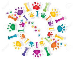 illustration colorful rainbow paw prints bones