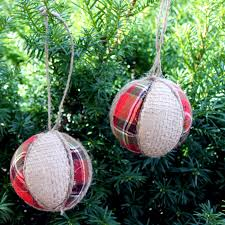 plaid and burlap ornaments the country chic cottage