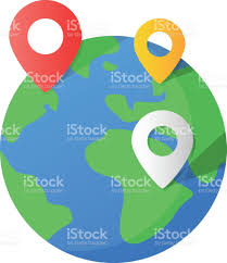 World Globe Map Planet Earth And Map Pins Icon Earth Globe And Colorful Map Labels