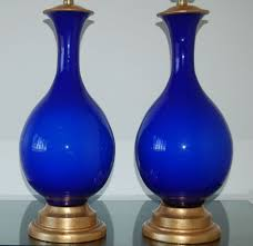 Blue Table Lamp Marbro Lamp Company Murano Lamps Of Cobalt Blue Swank Lighting