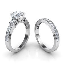 wedding band set trilogy engagement ring and matching wedding band bridal set