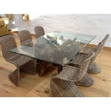 Reclaimed Teak Root Glass Topped Dining Table M X M - Reclaimed teak dining table and chairs