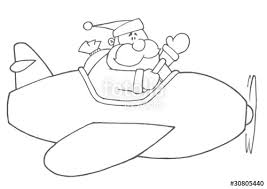 black white coloring outline santa flying plane
