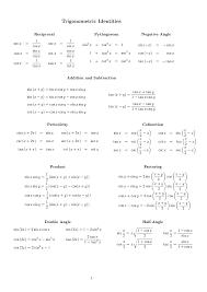 Sin Cos Tan Worksheet Trigonometric Identity Formula Image Gallery Hcpr