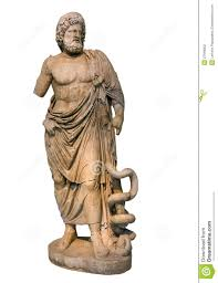 marble statue of ancient greek god asclepius stock photography