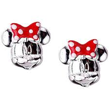 minnie mouse earrings buy disney minnie mouse sterling silver and enamel stud earrings