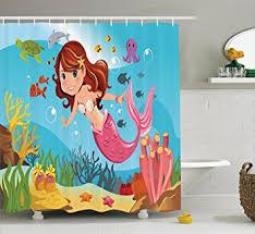 The Little Mermaid Bathroom Set Amazon Com Little Mermaid Shower Curtain Set By Ambesonne
