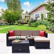 Mountain Outdoor Furniture - cloud mountain 5pc rattan wicker sofa set cushioned sectional