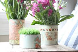Tin Flower Vases Tin Can Vases Upcycling With Map Paper The Crazy Craft Lady