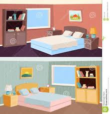cartoon bedroom apartment livingroom interior stock vector image