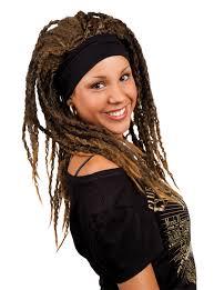 headband wigs brown rasta wig with headband wigs and fancy dress costumes vegaoo