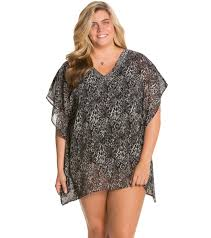 Delta Burke Delta Burke Plus Size Zebratastic Cover Up W Beaded Detail At