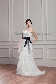 sheath column strapless organza wedding dress with a black belt