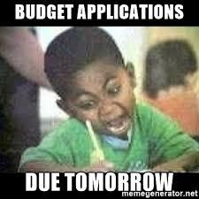 budget applications due tomorrow black kid coloring meme generator