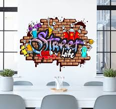 chambre vintage ado graffiti wall sticker teenager wall decals street art
