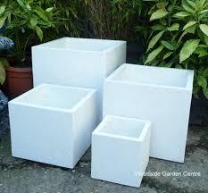 Square Plastic Planters by Large White Terrazzo Pots Square Cube Planters Woodside Garden