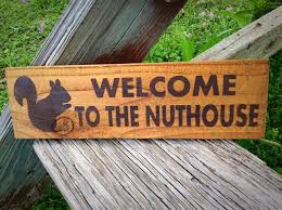 welcome to the nuthouse wood sign funny humerous squirrel