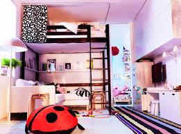 High Wooden Ikea Loft Bed Set Underneath With Floating Shelf And - Ikea bunk bed room ideas