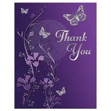 bat mitzvah thank you note card flat purple silver flowers