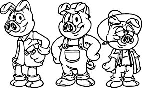best cartoon 3 little pigs coloring page wecoloringpage