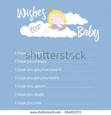 wishes for baby cards baby shower card template wishes baby stock vector 504952273