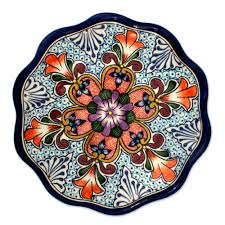 ceramic platter handmade mexican talavera style platter serveware wilderness