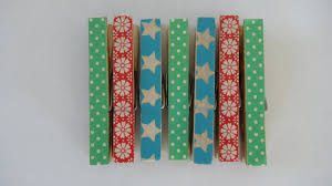 washi tape covered wooden u0027christmas pegs u0027