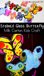 stained glass butterfly milk carton kids craft
