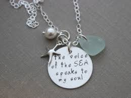 Hand Stamped Necklace Hand Stamped Genuine Sea Glass Jewelry Beach Cove Jewelry