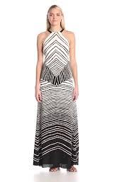 amazon com halston heritage women u0027s halter neck stripe print maxi