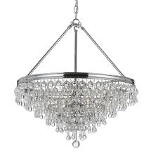 Crystal And Bronze Chandelier Crystorama Calypso 6 Light Crystal Teardrop Bronze Chandelier