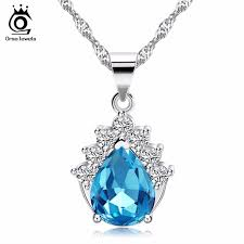 allergy free jewelry orsa jewels blue purple austrian cubic zirconia pendant necklace