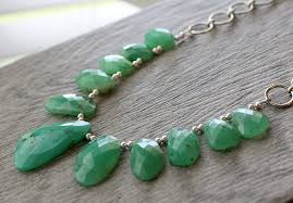 sterling silver stone necklace images Raw green chrysoprase bib necklace statement necklace brazilian jpg