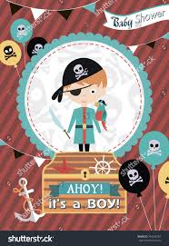 baby shower invitation card pirate theme stock vector 704248720