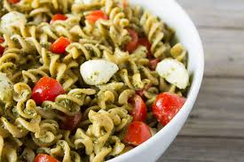 pasta salad pesto kara lydon caprese pasta salad with hemp pesto the foodie dietitian