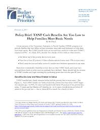 policy brief tanf benefits are low to help families meet