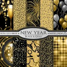 New Year S Eve Decoration Packs by New Year Digital Paper Pack Printable From Paperelement