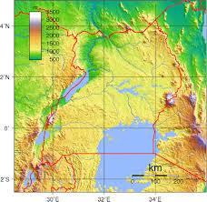 Topographic Map Of Europe by Large Topographical Map Of Uganda Uganda Large Topographical Map
